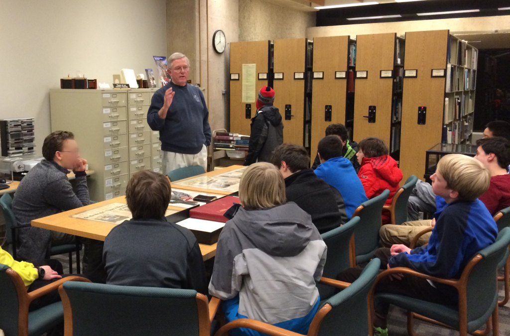 John Armstrong with Hawken School group, Jan. 7, 2015