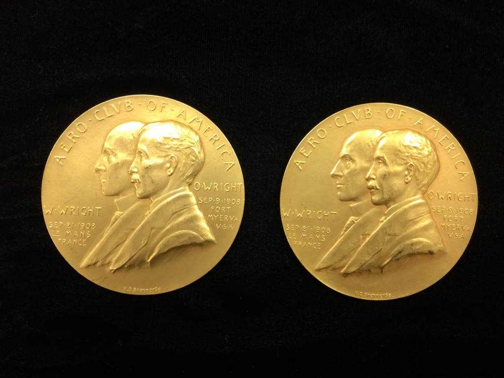 Aero Club of America medals awarded to the Wright Brothers in June 1909. MS-1, Wright Brothers Collection.