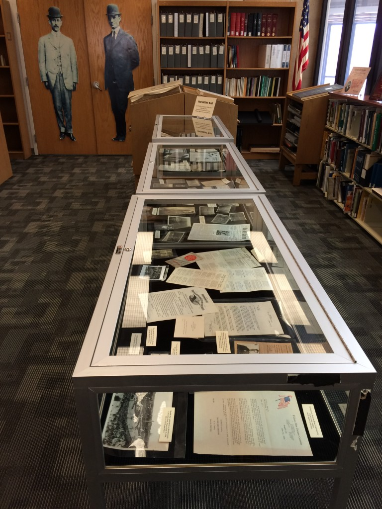 Exhibit of original World War I materials in our reading room, March 2015