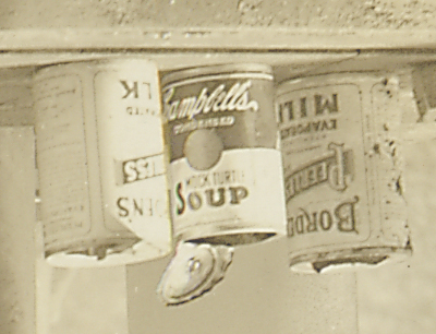 Close-up of soup cans, upside down