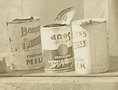 Close-up of empty soup cans