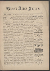 West Side News, September 7, 1889, page 1