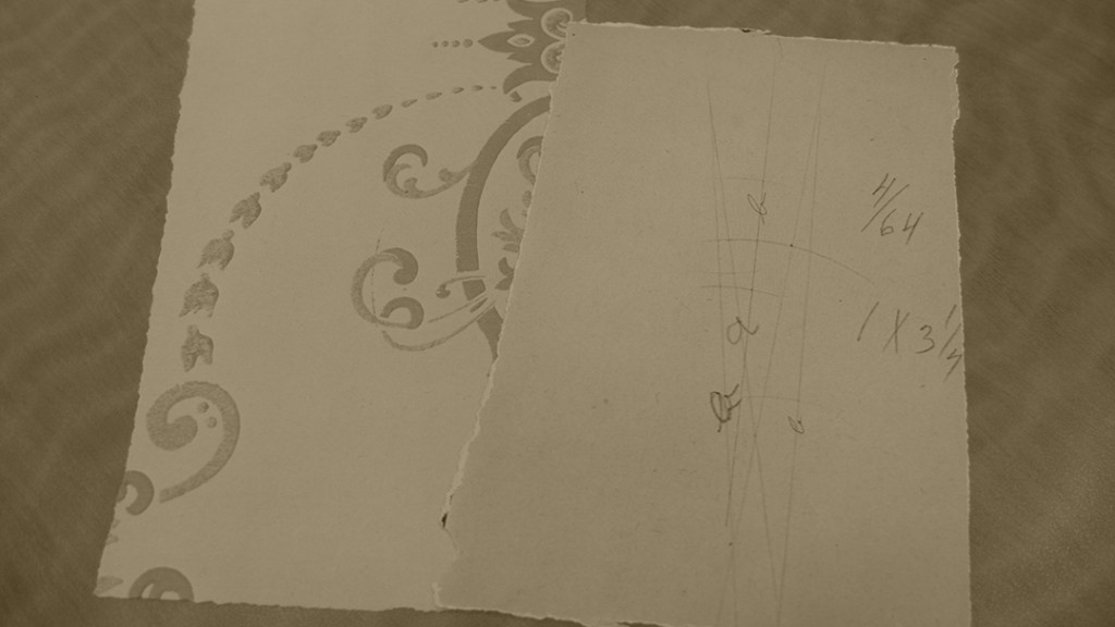 Wallpaper with calculations scribbled on the back by one of the Wright Brothers-- because you never know when the urge to do science may strike! (MS-1)