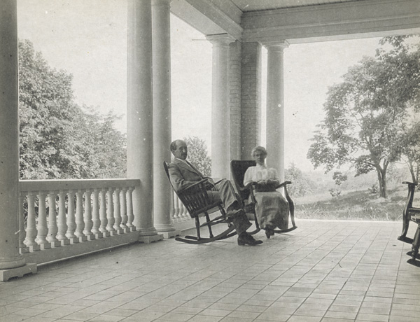 Orville and Katharine Wright sitting on porch at Hawthorn Hill, 1915. (photo ms1_26_5_11)