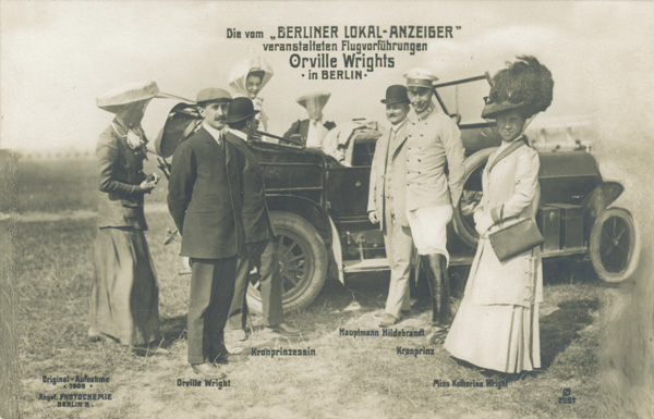 German royalty with the Wrights: Crown Princess Cecilie, Crown Prince Friedrich Wilhelm, Orville Wright, Katharine Wright, and Captain Alfred Hildebrant at Tempelhof Field, Germany, 1909. (photo ms1_18_7_21)