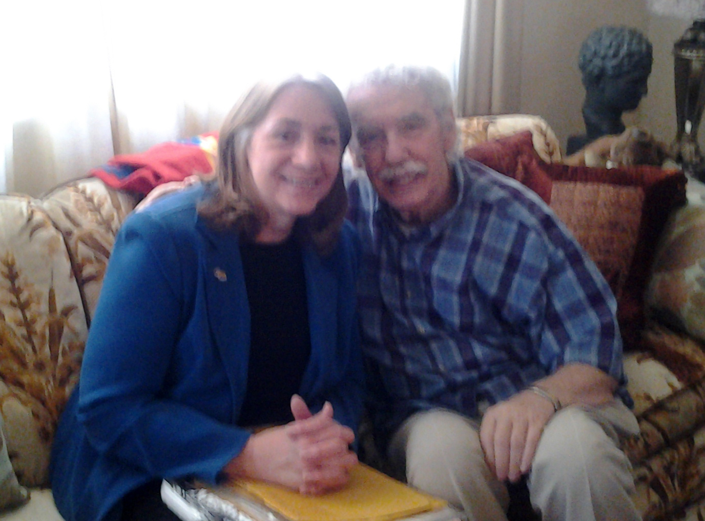 Dawne Dewey and Dale Huffman, at his home, March 2014.