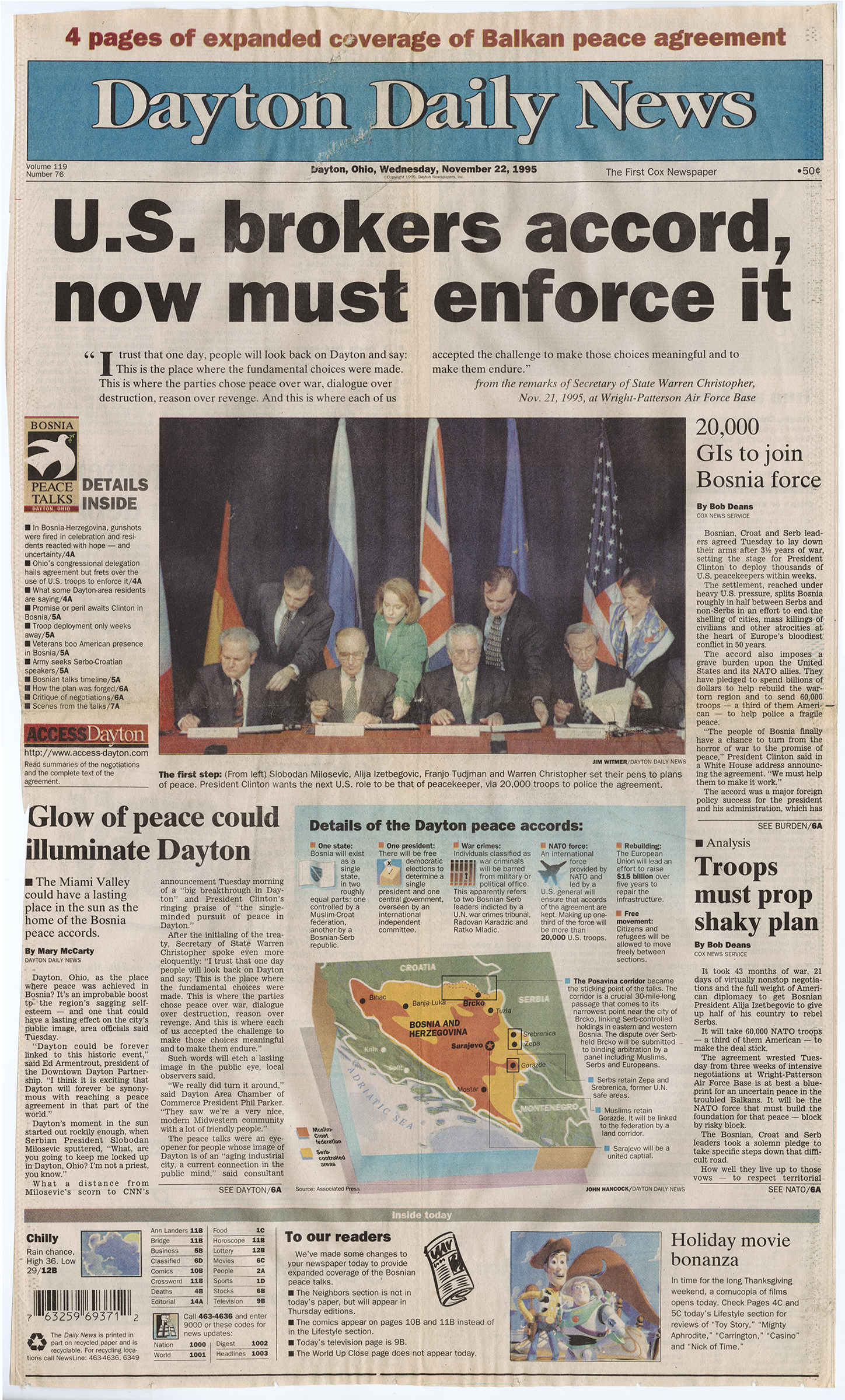 """U.S. Brokers Accord, Now Must Enforce It,"" Dayton Daily News, November 21, 1995, page 11, from MS-411"