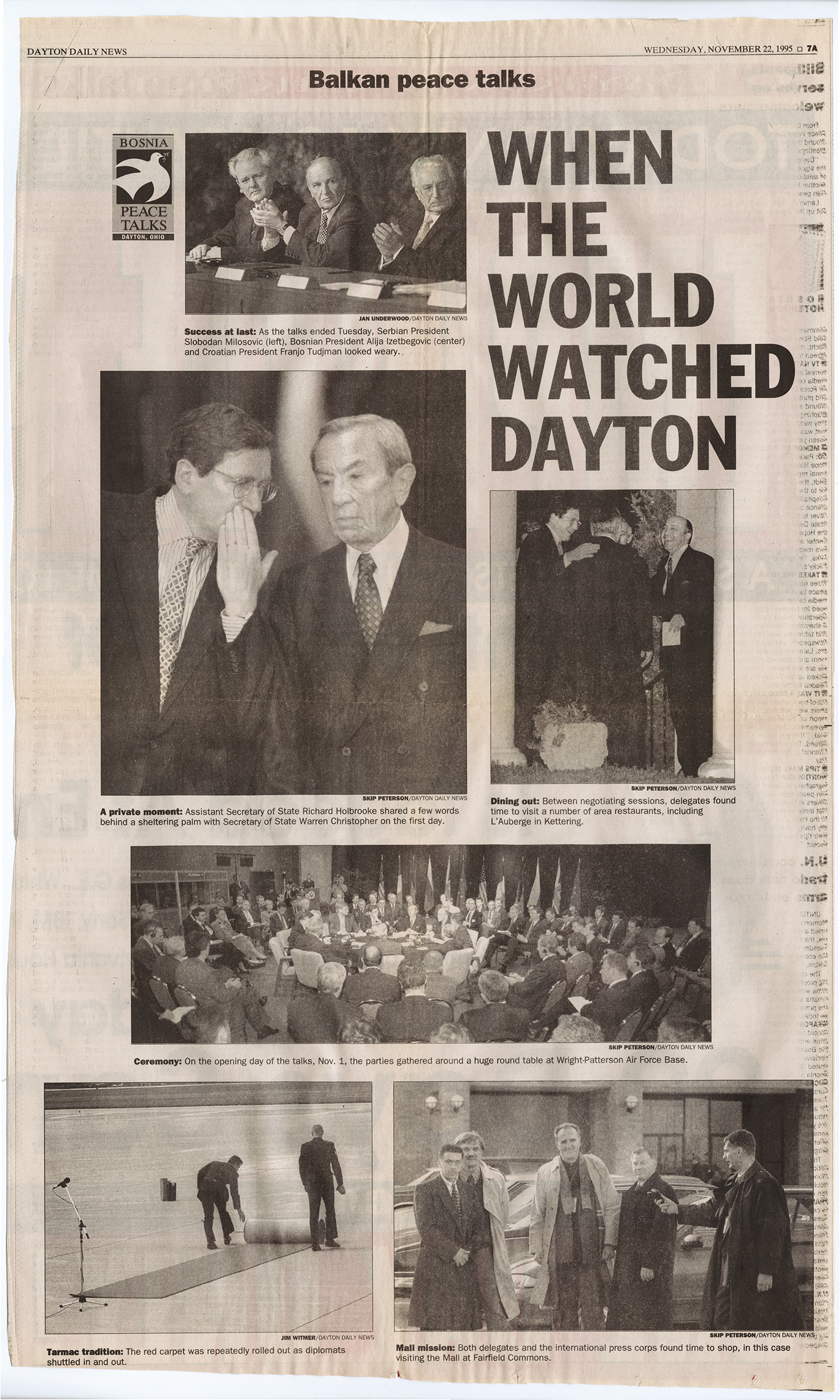 """When the World Watched Dayton,"" Dayton Daily News, November 21, 1995, page 7A, from MS-411"
