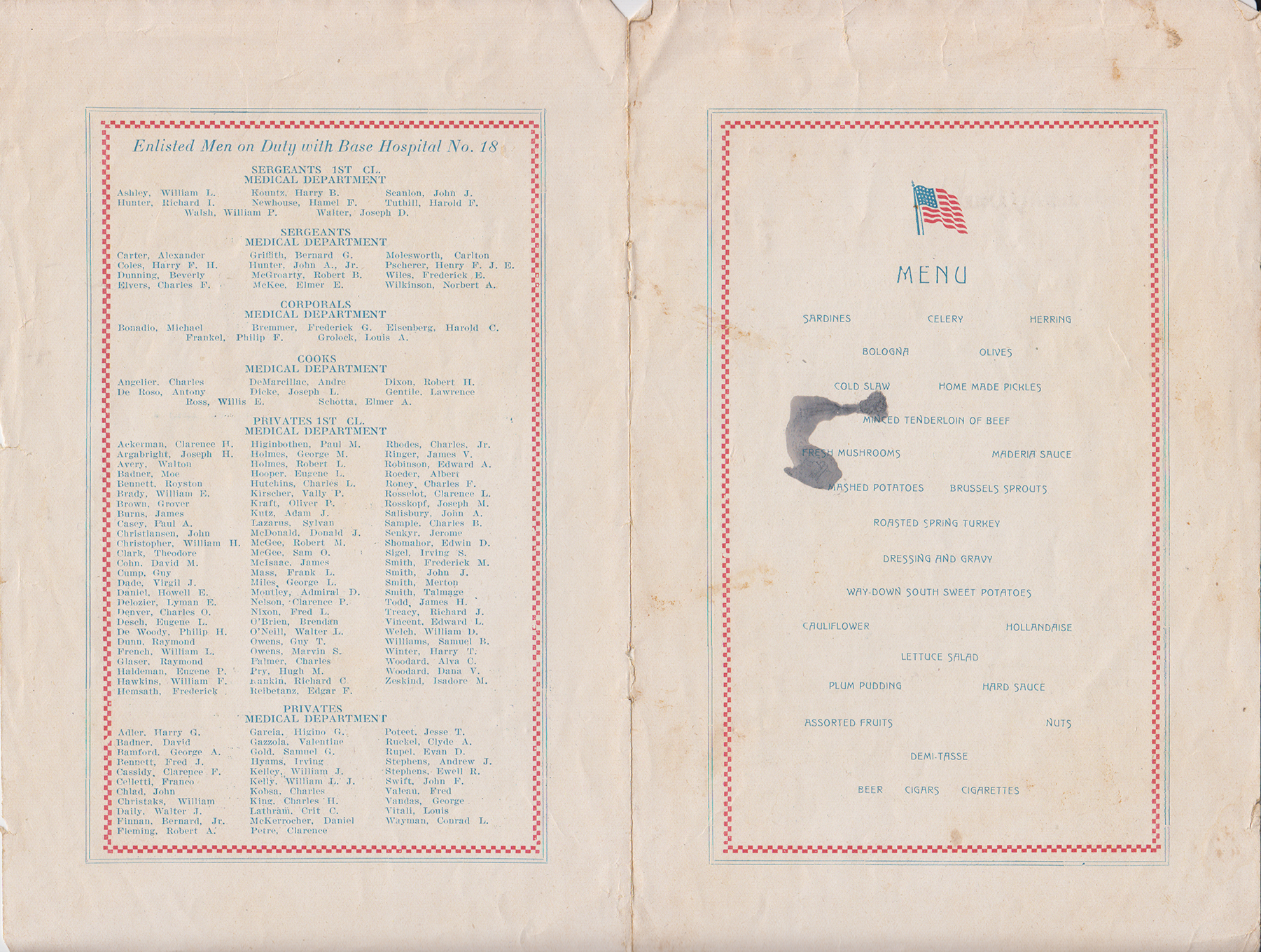 Base Hospital 18, Thanksgiving Dinner Menu, Nov. 18, 1918, personnel and food menu