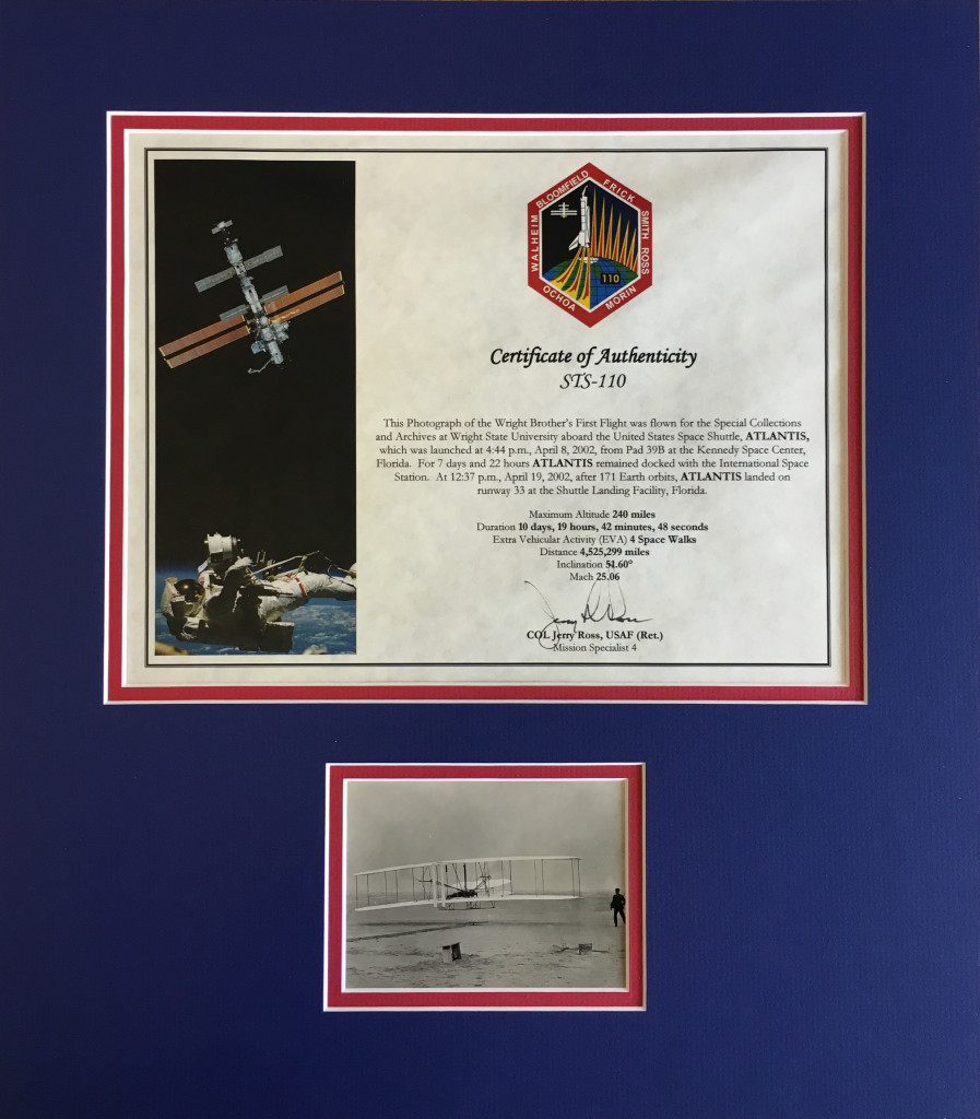 Detail of the photo and certificate presented on July 17, 2003, by Col. Ross.