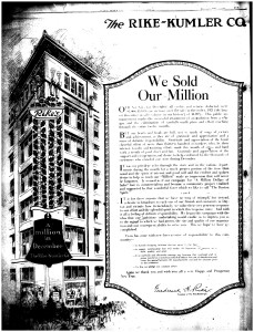 """""""We Sold Our Million,"""" Rike-Kumler Co. ad in the Dayton Daily News, January 1, 1923"""