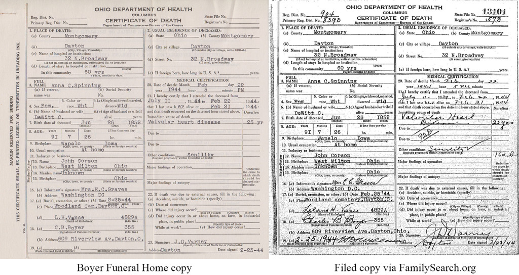 Two copies of Anna Spinning's 1944 death certificate, showing how the Boyer copy and the state-filed copy look slightly different