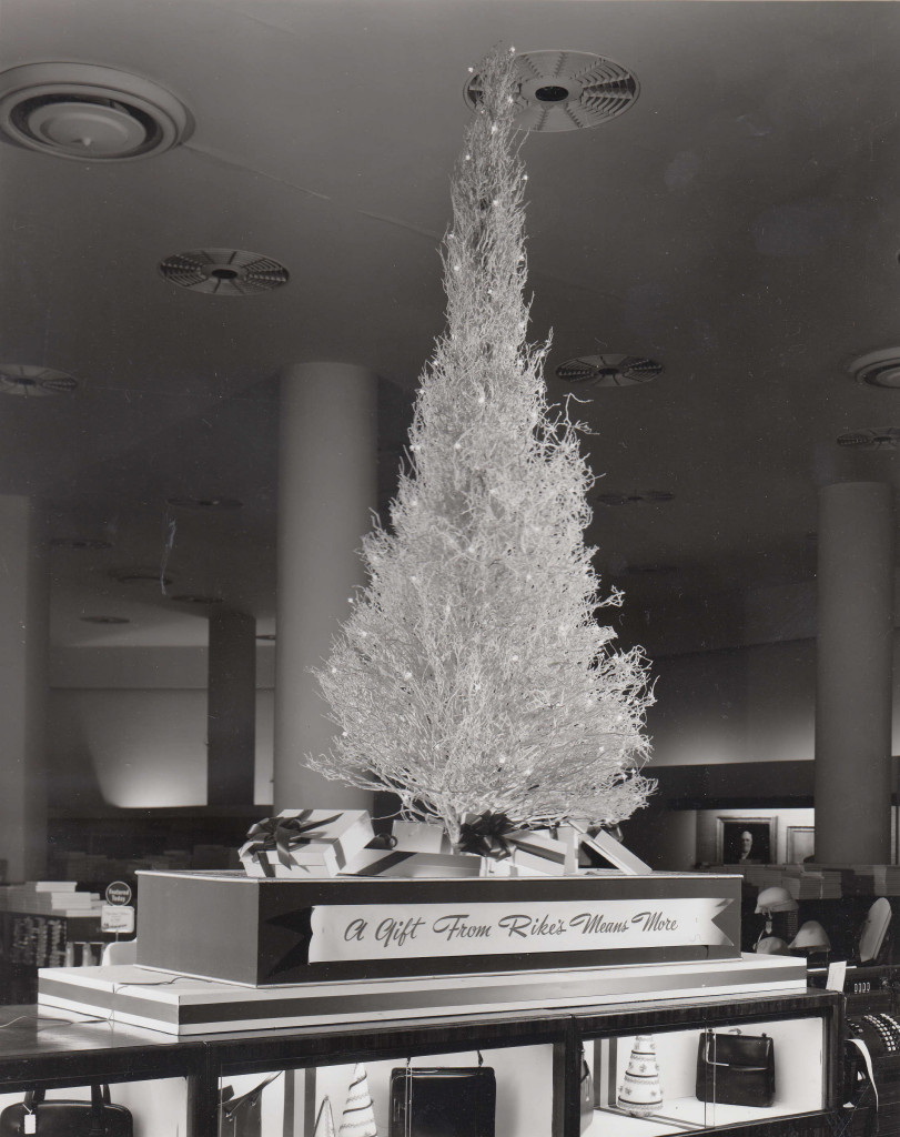 """Christmas store decor: """"A Gift From Rike's Means More,"""" ca. 1940s-1950s"""