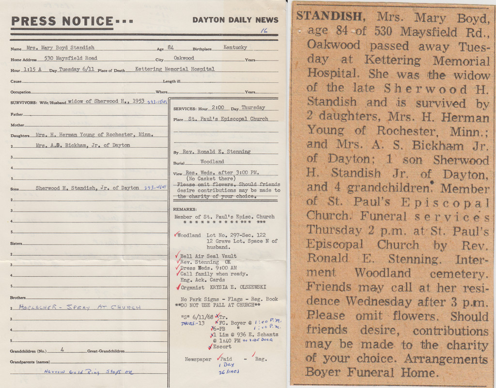 Press notice notes form and obituary for Mrs. Mary Standish, 1968 (MS-277 Box 17, File 20)