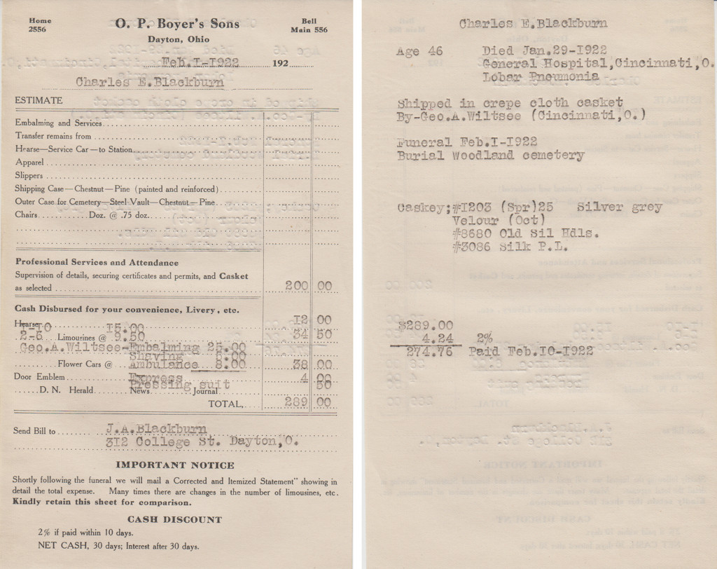 Mortuary record for Charles E. Blackburn, 1922, page 3 of 3 (MS-277, Box 1, File 1)