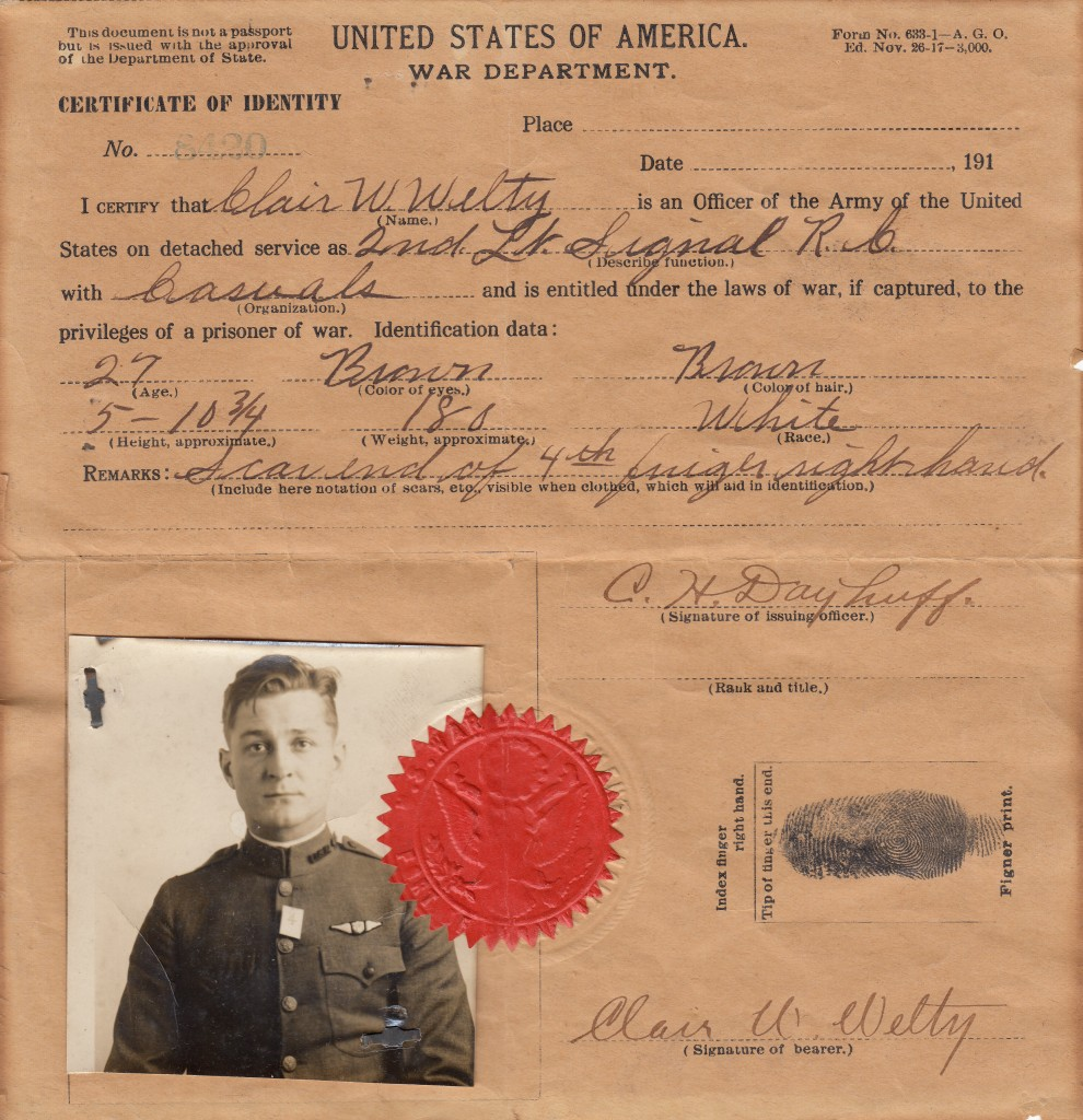 Clair W. Welty military identification certificate, World War I (MS-196, Box 1, File 8)