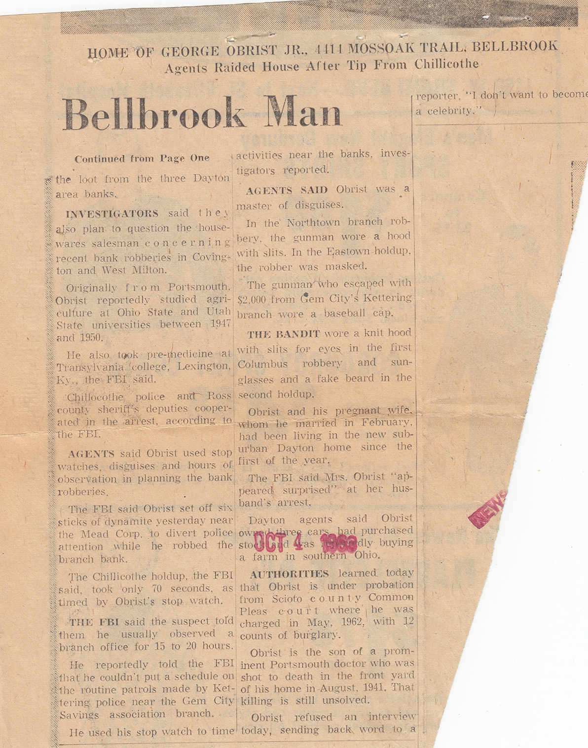 Bellbrook Man Charged with Six Robberies (continuation), Dayton Journal Herald, 5 Oct 1963
