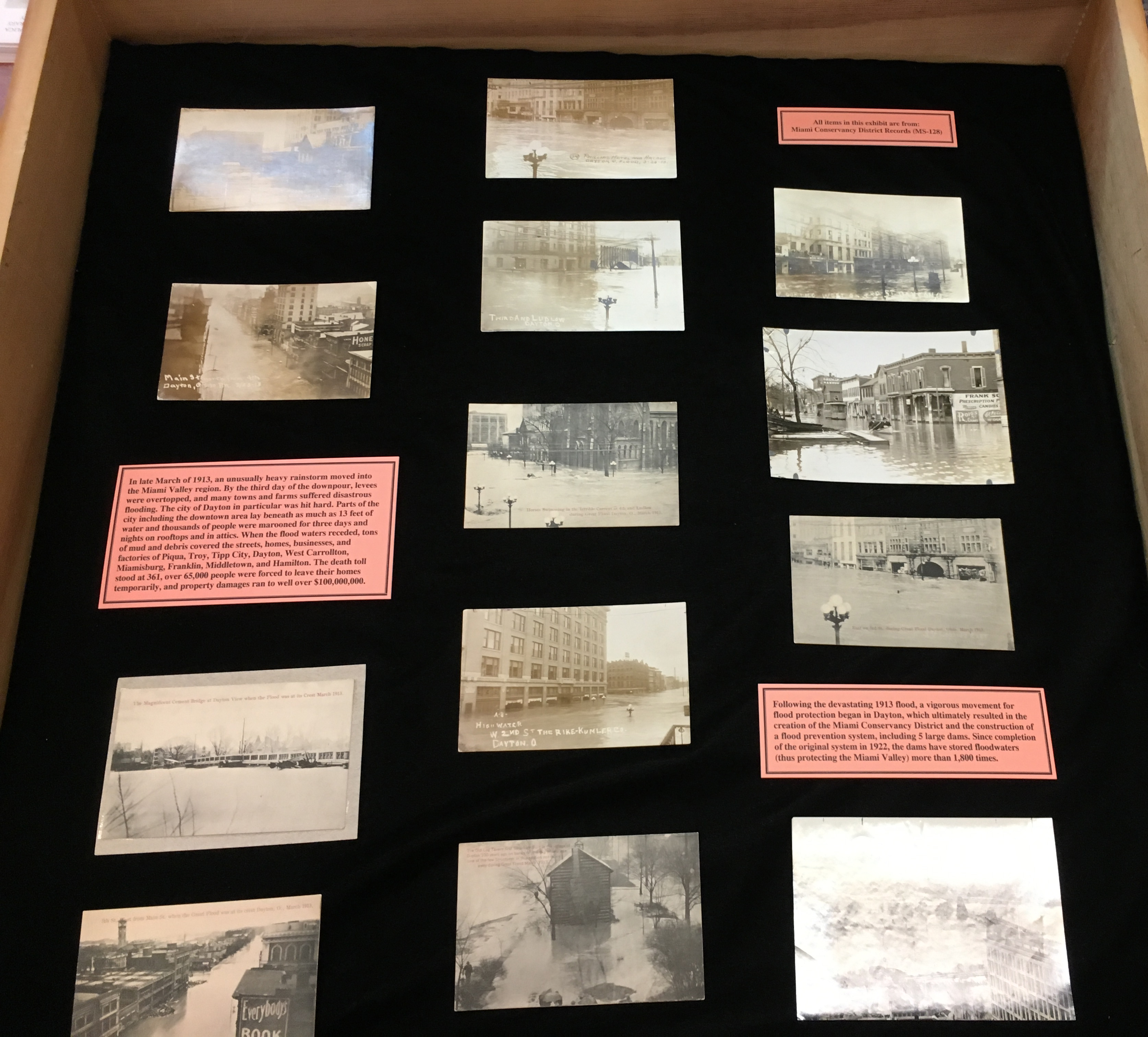 1913 Flood postcards & photographs exhibit, March 2016