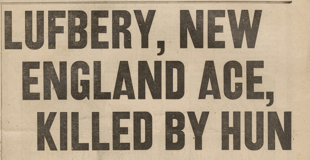 Newspaper headline announcing Lufbery's death, May 1918 (from MS-502 Raoul Lufbery Collection)