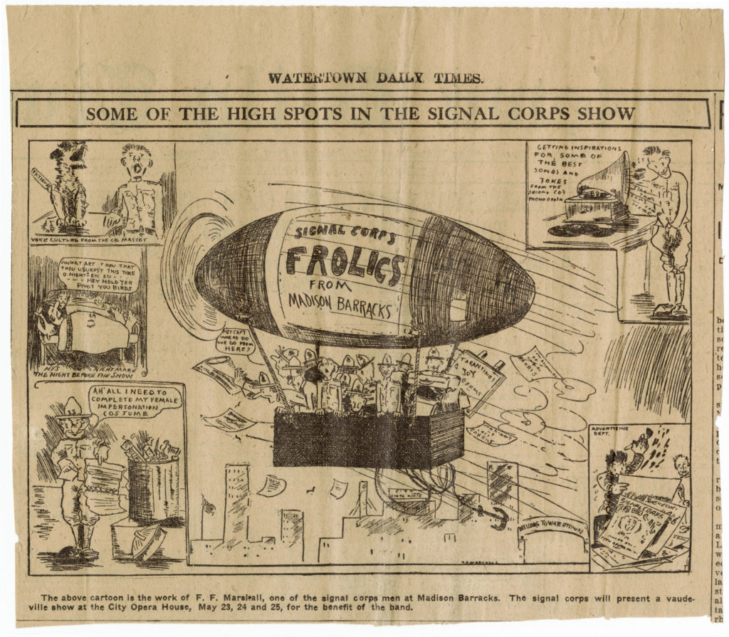 "A cartoon drawn by Marshall, ""Some of the High Spots in the Signal Corps Show"" (ms53_05_11_004)"