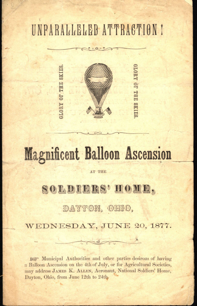 Advertising a balloon ascent at the Dayton Soldiers' Home, June 20, 1877