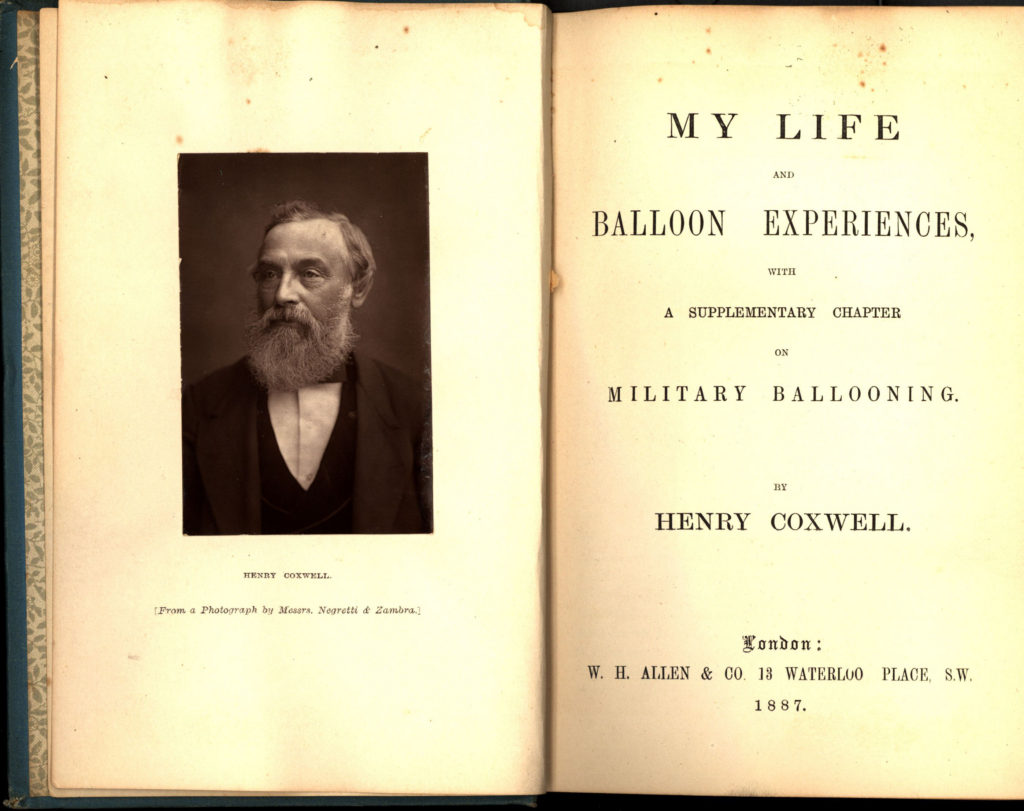 "Title page inside ""Life and Balloon Experiences: with a supplementary chapter on military ballooning"" by Henry Tracey Coxwell, published in 1887"