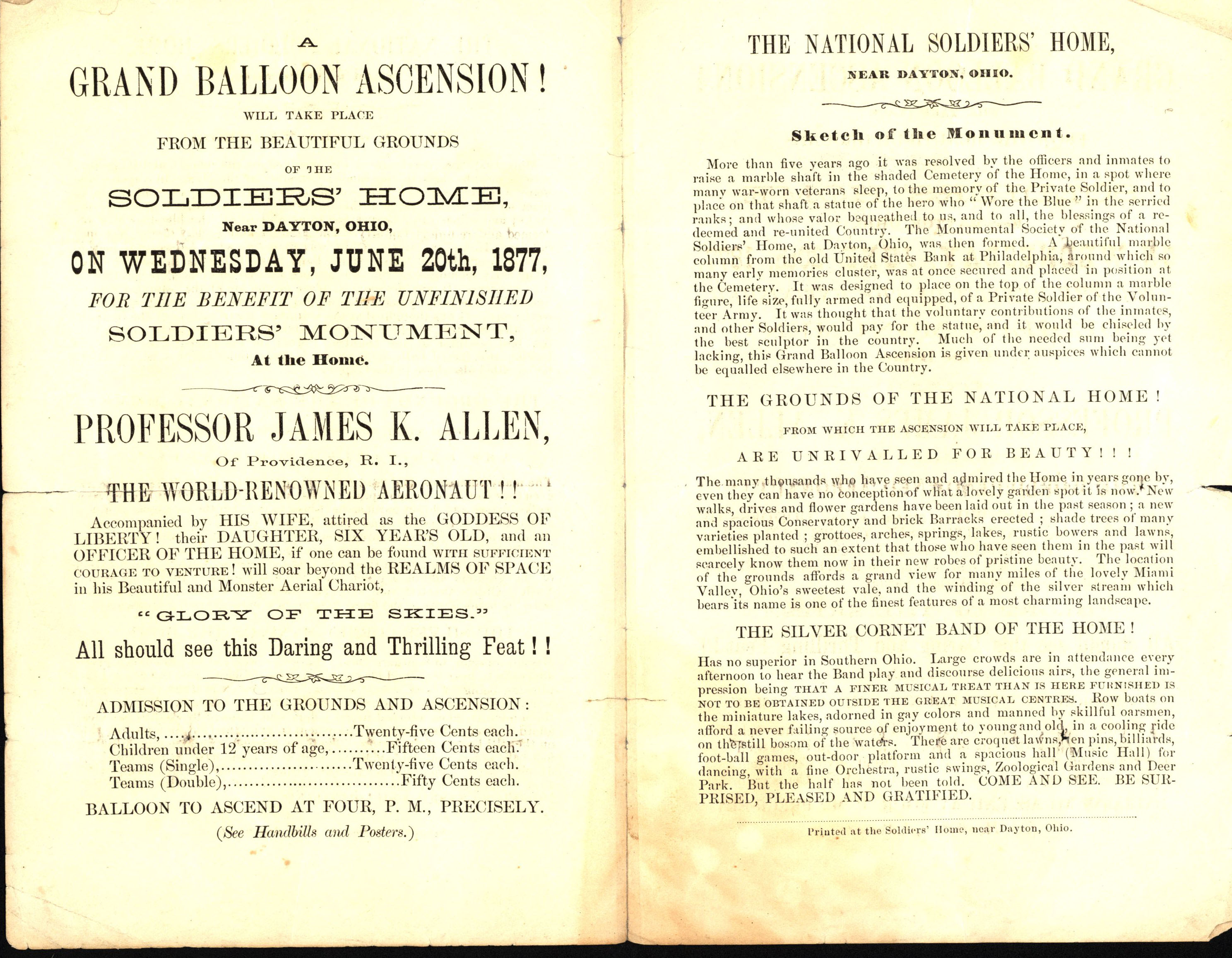 Advertisement from a balloon ascent at the Dayton Soldiers' Home, June 20, 1877
