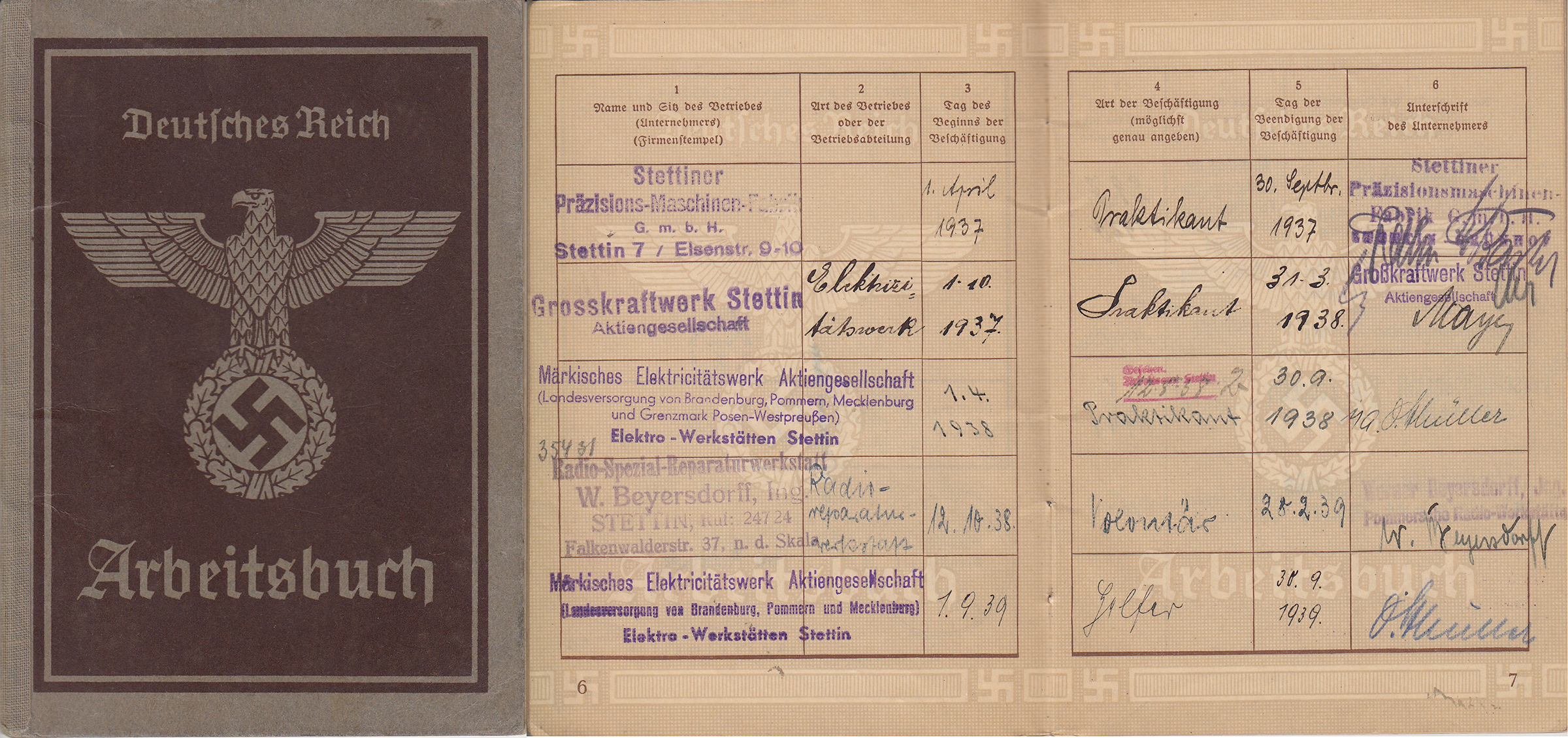 Berndt's Arbeitsbuch (Labor Book), listing places of employment (Box 1, File 8)