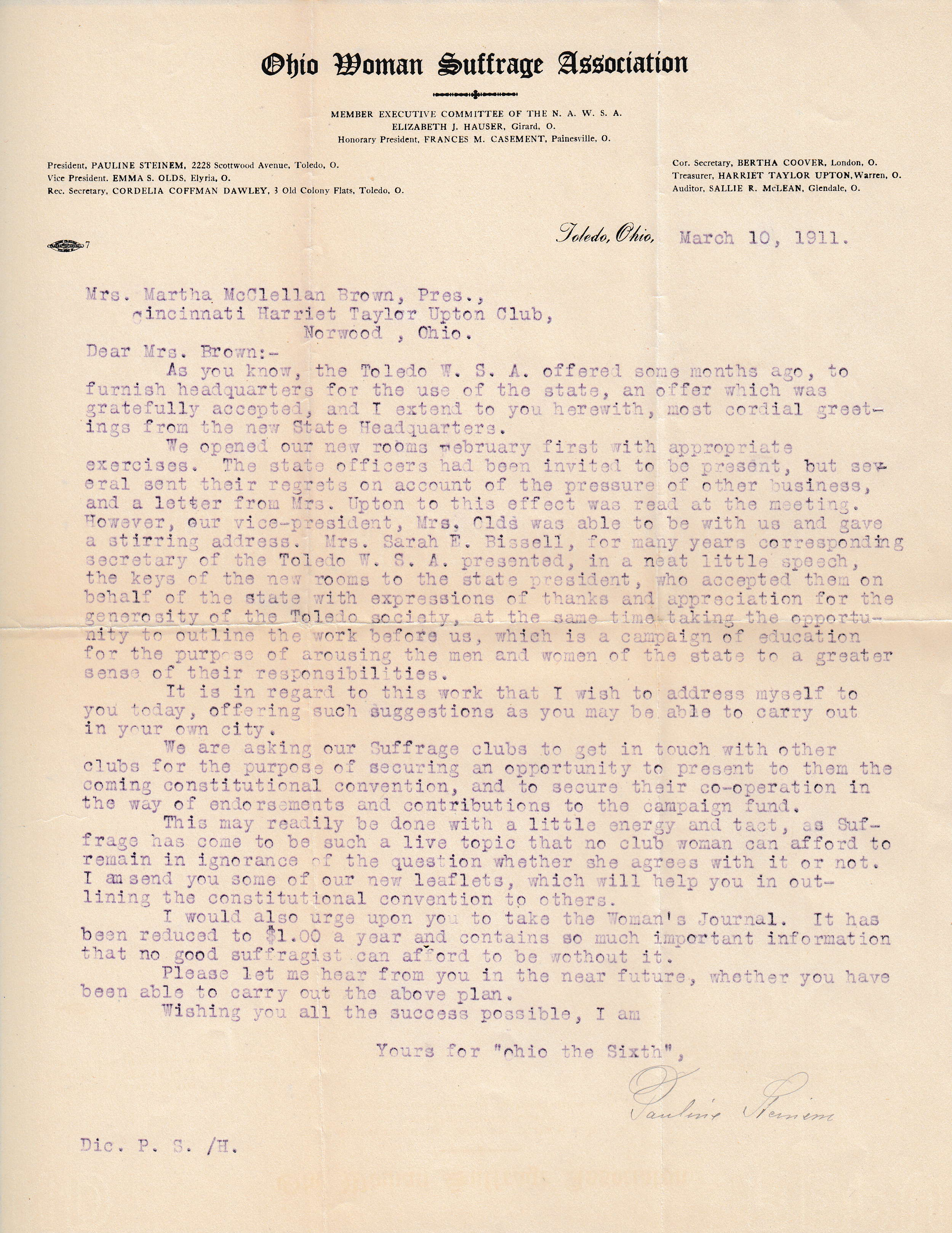 Steinem letter, March 1911, MS-147, B10, F6 (click to enlarge)