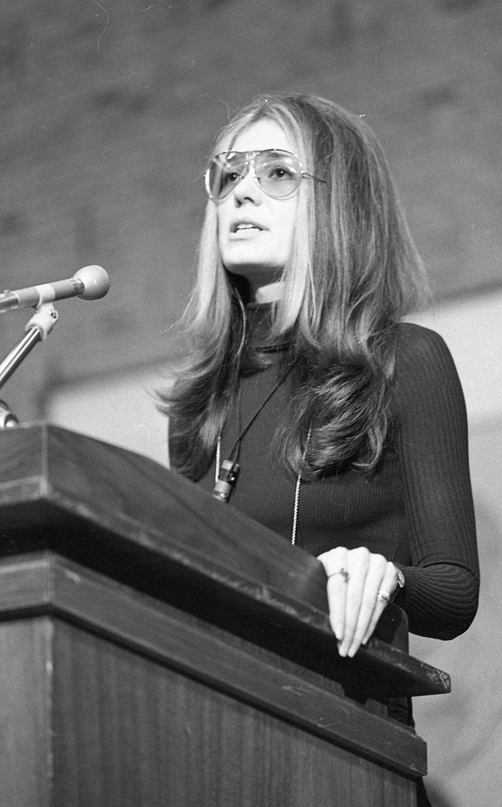 Gloria Steinem speaking at Wright State University on January 26, 1972 (University Archives) (click to enlarge)