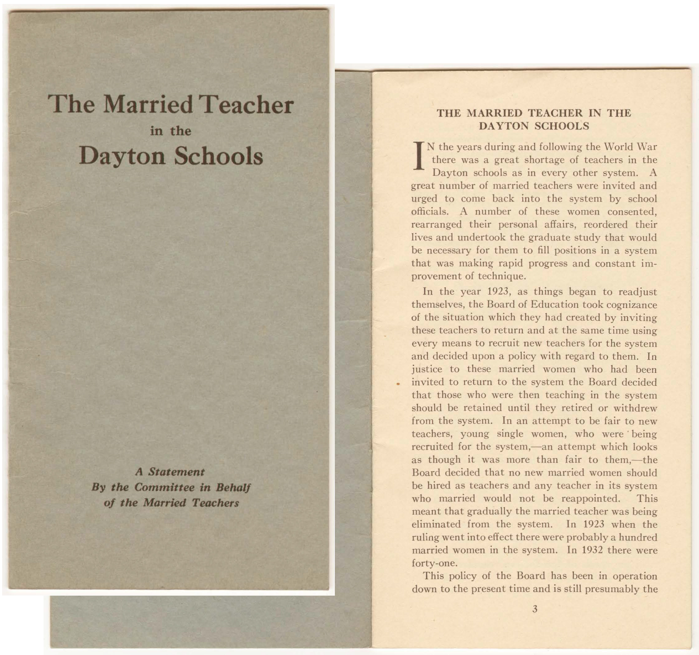 The Married Teacher in the Dayton Schools pamphlet, circa 1933 (view entire pamphlet online, ms91_01_03_01)