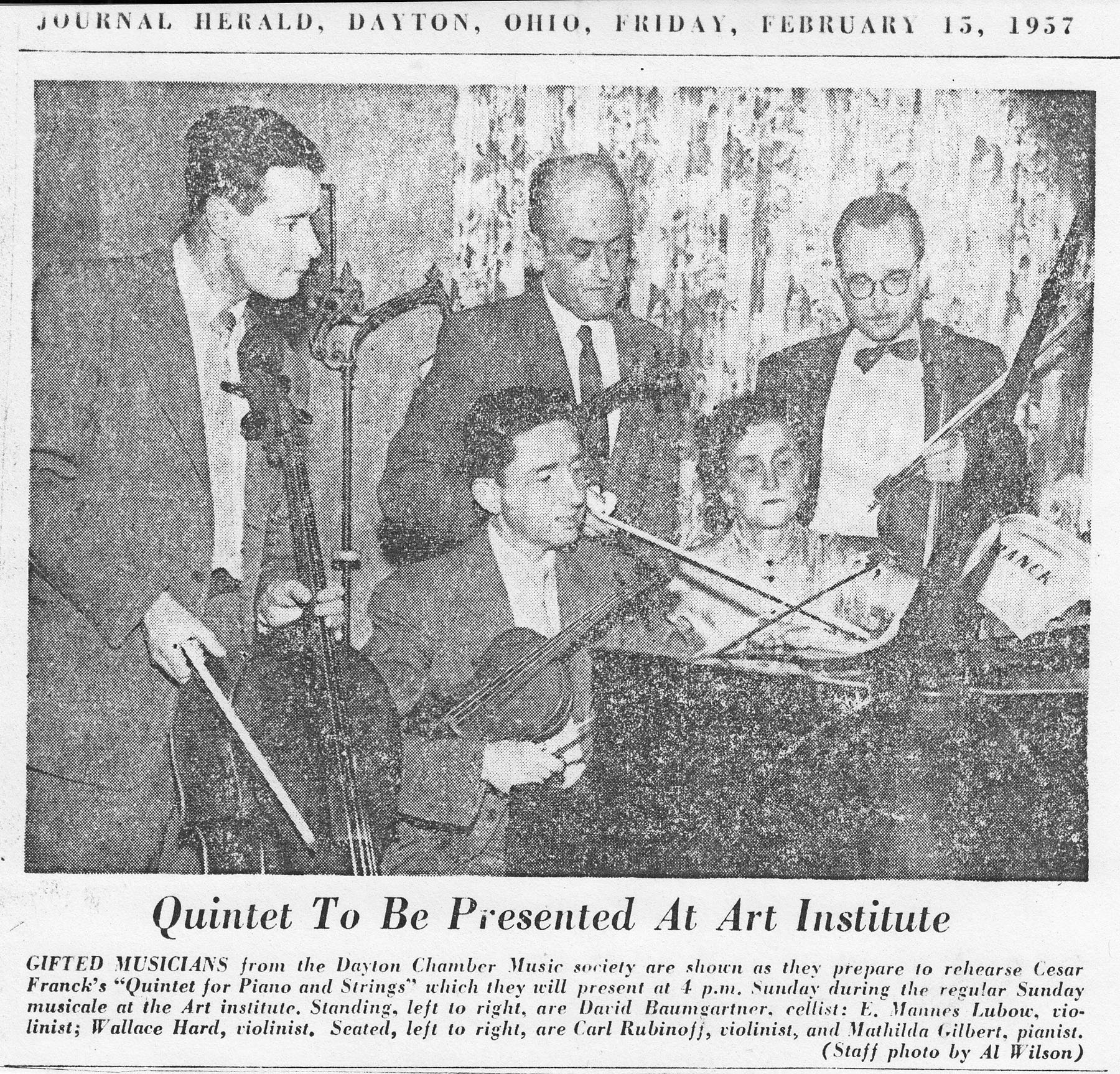 Newspaper article about Dayton Chamber Music Society performance at Art Institute, February 13, 1957. (MS-531, Box 3, File 5)