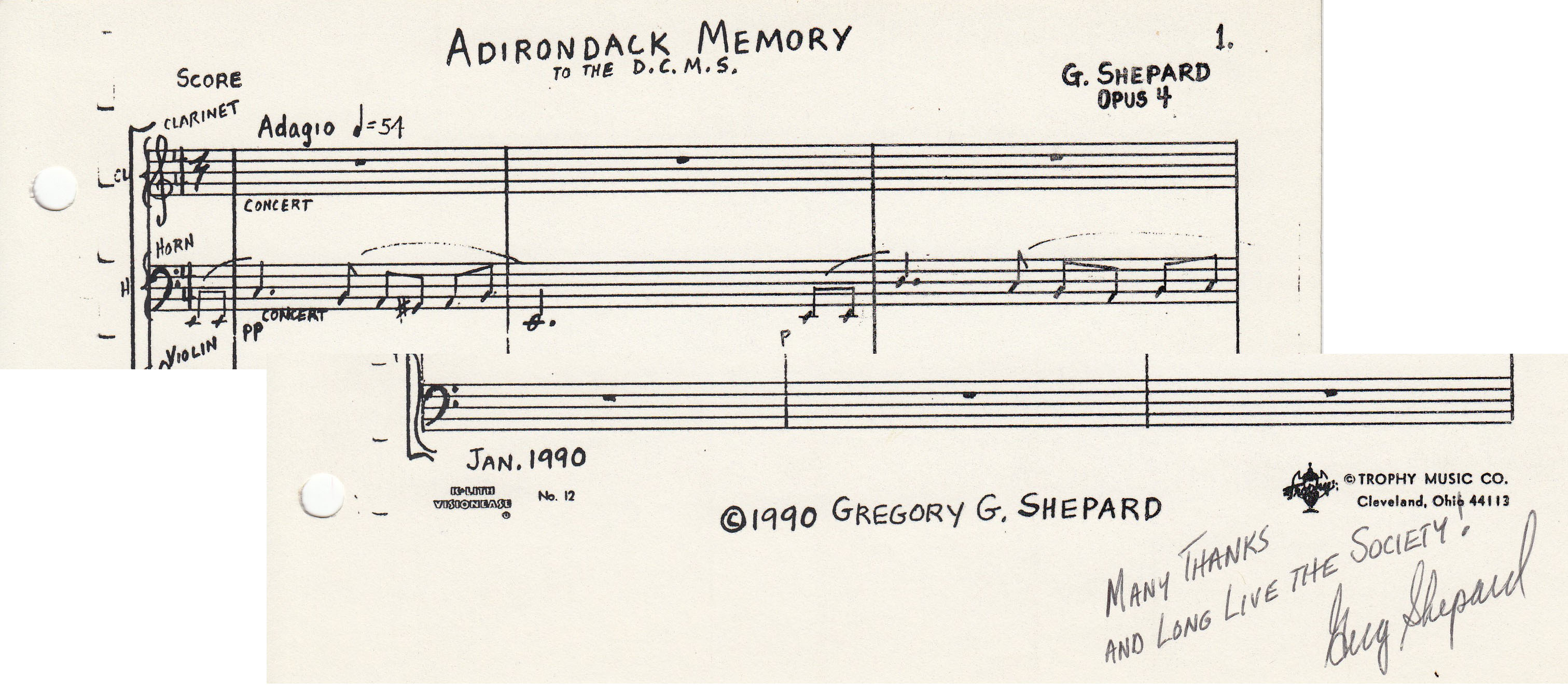 Portion of some sheet music (autographed by composer Gregory Shepard) once performed by Dayton Chamber Music Society, 1990. (MS-531, Box 4, File 9)