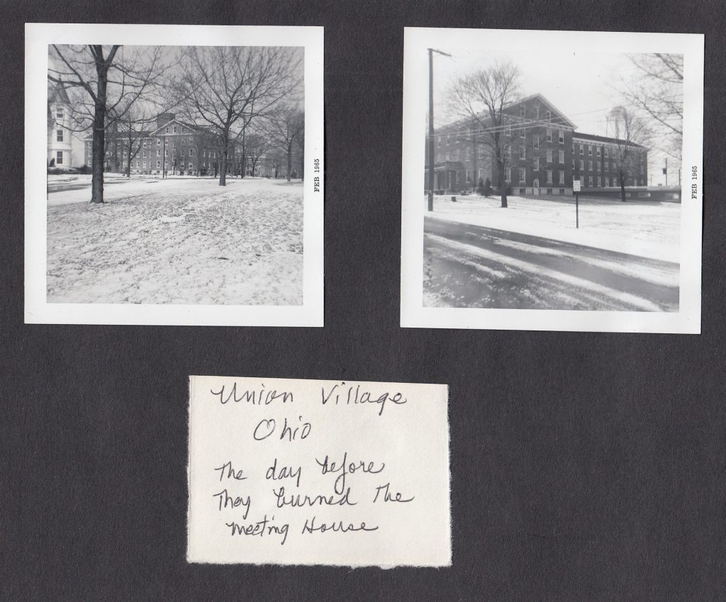 Photographs, taken by Rose Mary Lawson, of the Union Village Shaker Meeting House. This building was burned down shortly after the photos were taken. (MS-571, Box 5, File 8)