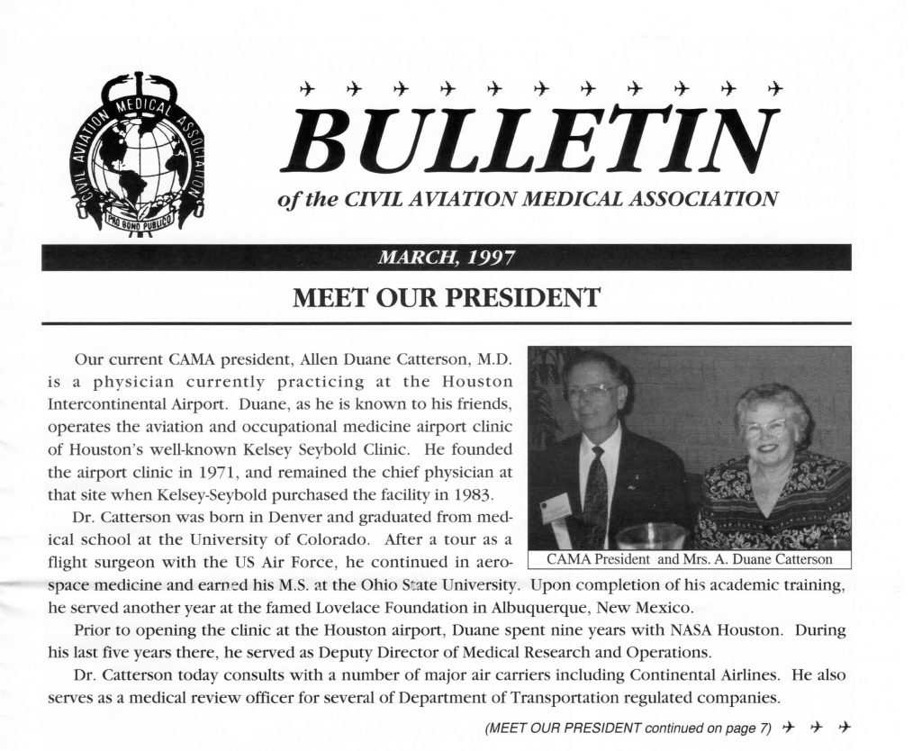 A portion of the March 1997 issue of the CAMA Bulletin, featuring Association President A. Duane Catterson and his wife. Click on the image to go to the full issue in CORE Scholar.