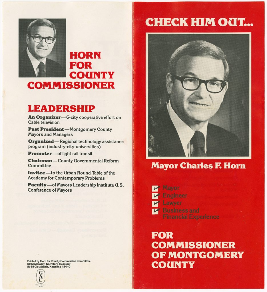 A political brochure for Charles Horn's campaign for a seat on the Montgomery County Commission. Horn served as a commissioner for Montgomery County from 1980-1984. Circa 1979-1980. (ms629_003_007_001a)