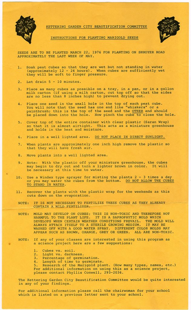 Instructions explaining how to properly plant marigolds for city of Kettering, Ohio residents. These instructions were created and distributed by the Kettering Garden City Beautification Committee, a group created and led by mayor, Charles Horn. (ms629_013_002_001)