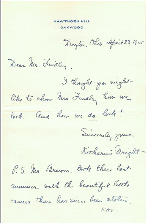 A letter from Katharine Wright to Earl Findley, Apr 23, 1915 (from SC-323, page 55)