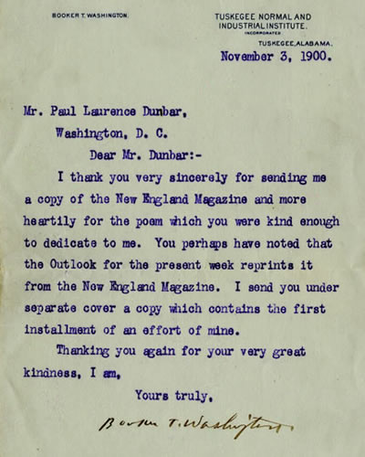 A Letter from Booker T. Washington 1900